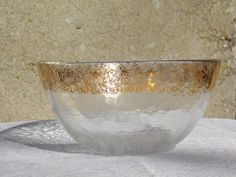 Bowl Clear and Gold Edging  Glasax top line by DocsOddsandEnds