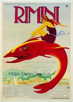 Rimini 1922 Il delfino e la bagnante. Dudovich