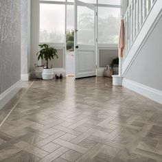 SBW-RL12 Storm Oak wood effect basketweave in hallway using DS10-3mm and DS12-5mm