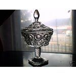 EAPG ANTIQUE BELLAIRE GLASS PEDESTAL COVERED COMPOTE