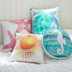 Beachside Watercolor Pillow Cover @ Pottery Barn Teen. Im tempted to try to make these!!!