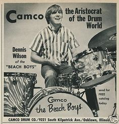 1967 Camco Drums moire finish vintage advertisement featuring Dennis Wilson of The Beach Boys