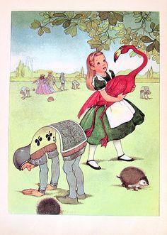 Alice and the Flamingo 1955 Alice In Wonderland Lewis Carroll Marjorie Torrey Illustration Book Plate