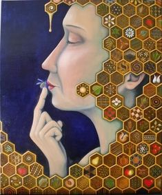 Love this honeycomb-inspired painting by Elisabeth Kopjar. What do you think?  #bees #love #honeycomb #art #design #beauty