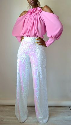 White Iridescent Sequin Wide Leg Pants By Daniela Tabois. Shop Now Image source Classy Outfits, Chic Outfits, Fashion Outfits, Womens Fashion, Tomboy Outfits, Emo Outfits, Office Outfits, Dance Outfits, School Outfits