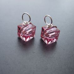 Rose Swarovski Crystal Cube Drops