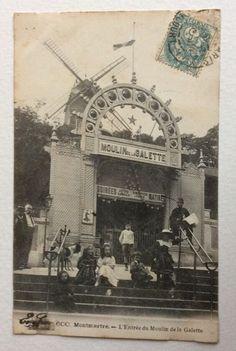 CPA. MONTMARTRE. 75 - L'Entrée du Moulin de la Galette. Enfants. Chien. | eBay