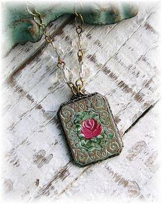 Hand Painted Red Rose Art Deco Pendant Necklace by TheVintageHeart, $30.00