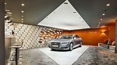 Audi Geneva Motor Show 2014 on Behance Audi A8, Showroom Interior Design, Car Office, Parametric Design, Geneva Motor Show, Booth Design, Lounge, Tiana, Exhibitions