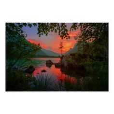 Mountain Lake Sunset Poster - custom diy cyo personalize gift idea