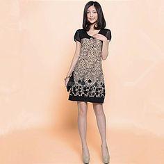 Women's+Print+Black+Dress,+Casual+Round+Neck+Mesh+Short+Sleeve+Shift+–+USD+$+9.99