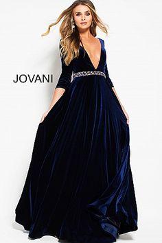 39cb61d5a52 Navy Velvet Plunging Neckline Embellished Belt Gown 49769 Bailes, Vestidos,  Vestido De Novia Con