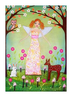 Animal Folk Art Paintings | Cute Redhead Forest Fairy with Woodland Animals Painting Art Print