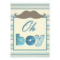Cute Boy Mustache Baby Shower Invitations