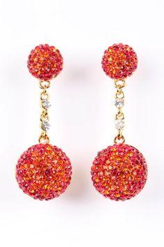 Sunset Crystal Ball Earrings