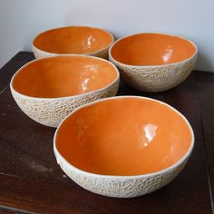Eat your favorite summer fruit out of these cantaloupe bowls. Molded from a real cantaloupe, this set of 4 earthenware bowls has the texture and Ceramic Bowls, Ceramic Pottery, Ceramic Art, Honeydew, Earthenware, Stoneware, Cerámica Ideas, Orange You Glad, Glass