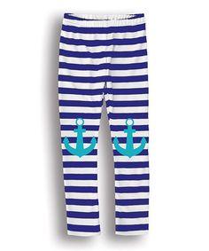 Blue & White Stripe Anchor Leggings - Toddler & Girls