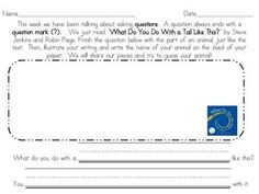 """""""What Do You Do With A Tail Like This"""" Worksheet Journeys Kindergarten, Cross Curricular, Summer School, Graphic Organizers, Reading Comprehension, First Grade, Worksheets, No Response, Texts"""