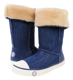 d888372ea Ugg Australia Delaine Boots Womens Girls Denim Shearling Sneaker US 5 6 $194
