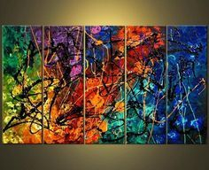 Wieco Art - Modern 100% Hand Painted Canvas painting Art Work for Wall Decor Home Decoration, Stretched and Framed Painting Artwork, When My Heart Skips A Beat - 5 Panels Abstract Oil Paintings on Canvas Wall Art Ready to Hang for Wall Decorations Home Decor, http://www.amazon.com/dp/B00G1X7KWG/ref=cm_sw_r_pi_awdm_EmXOvb0RHZ613