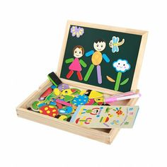 Wooden Magnetic Puzzle Board - 280 pesos   This product is a colorful multiple shaped blocks. Children's imagination will be inspired when forming different pictures to tell different stories. Drawing board comes with two sides - white board and chalk board. Please message us for orders.   What's in the box:  1x Dual sided drawing board (black+white) 1x Eraser 1 x chalk 70 x magnet jigsaw puzzle pieces #cuteitems #watch #sunglasses #toys #noveltytoys