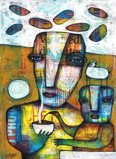 DAN CASADO outsider folk raw art COFFEE original painting collage on wood #OutsiderArt