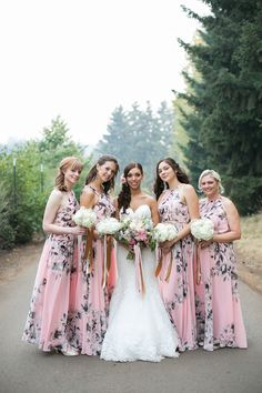 pink and grey bridesmaid dresses - photo by Jamie Rae Photography http://ruffledblog.com/oregon-garden-resort-wedding
