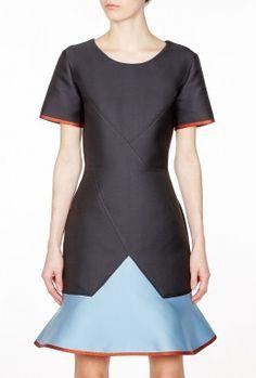 Colour Block Flippy Hem Dress by Ostwald Helgason