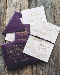 Sara and Matt worked with Moira Designs to create their wedding stationery, with gold calligraphy accents, cream paper with hand-cut lace, and plum envelopes lined with a leaf print.