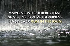 I strongly disagree!  I've ran through sunny snow, dark snow, rain and sunshine.  Sunny snow and pure sunshine are where my happiness lies.