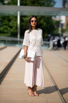 Nausheen Shah NYFW Street Style featuring the culotte, the most popular pants of Fashion Week.