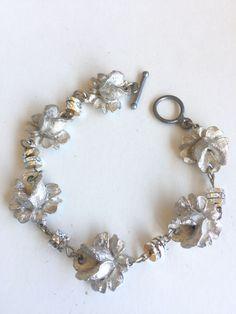 Ladies Link Bracelet Roses in Silver Tone by SprayPaintArtStudio