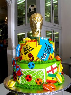 Wicked Chocolate cake decorated with soccer world cup fondant decor &… Football Field Cake, Football Birthday Cake, Birthday Cup, Boy Birthday Parties, Football Cakes, Football Football, Birthday Cakes, Cake Decorating Courses, Cake Decorating Supplies
