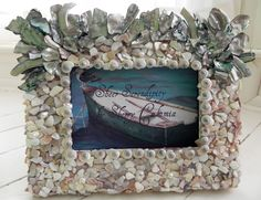 seashell picture frame  beach decor  Mother of by sheerserendipity at Etsy