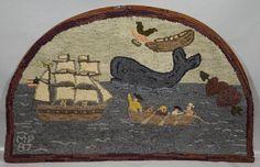 Antique Dated 1887 MP American Hook Rug Nautical Scene Sailing Ship & Whale yqz Nautical Artwork, Nautical Rugs, Vintage Nautical, Rug Hooking Designs, Rug Hooking Patterns, Whale Art, Sailing Ships, Folk Art, Vintage World Maps