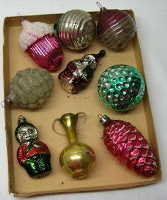 9 Xmas Christmas Mercury Glass Tree Decorations Fruits Santa Kayo Urn Antique