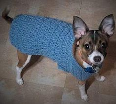 Simple crocheted sweater. Instructions at http://www.make-and-build-dog-stuff.com/dog-sweater-crochet-pattern.html