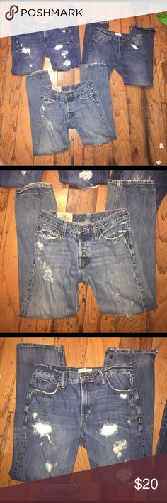 Guys Jeans Guys Jeans, all size (30/30). Two pairs are Aeropostale and one pair is Hollister. The dark Aeropostale jeans have been cut on the bottom on the legs to make me boot cut. They were bought with the holes though. Perfect for working in or lounging around. Aeropostale Jeans Bootcut