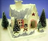 Click to see free downloadable plans and instructions for completing this vintage-style pasteboard Christmas house.