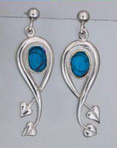 So Pretty! Art Nouveau Design Labradorite Sterling Silver Earrings