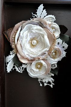 XL handcrafted corsage ivory cream white brooch dress sash pin wedding bride