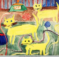 Cats and More Cats : This piece was created by a eleven year old girl from Jacksonville, Illinois. She attended Franklin Elementary School where this piece was collected from. She created this piece in 1960. Her medium is water-based painting. Dimensions are 48.3 cm x 48.3 cm.