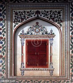 colourful fresco work in City Palace ; Jaipur ; Rajasthan