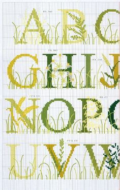Grass spring alphabet cross stitch sampler