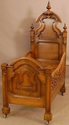 Victorian walnut baby crib