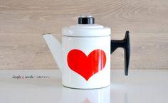 Vintage Enamel Coffee Pot Heart Pehtoori Antti