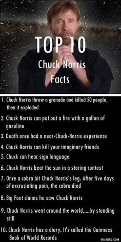 "These are top 10 facts of almighty Chuck Norris Sir and my favorite one is ""Big foot claims he saw..."