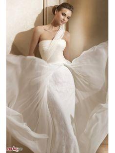 2012 Elegant Affordable Mermaid One-shoulder Ruched Long White Lace Wedding Dresses. $229.99! bridal-buy.com