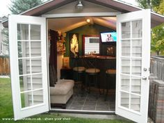 Backyard Sheds Turned Into Pubs Forget the indoor bar area! Build a Pub Shed!Forget the indoor bar area! Build a Pub Shed! Backyard Bar, Backyard Sheds, Outdoor Sheds, Backyard Office, Backyard Landscaping, Patio Bar, Casas Club, Man Cave Shed, Man Cave Garden Shed