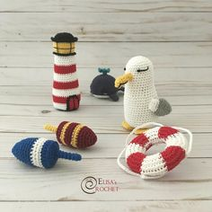 Nothing says nautical more than vintage lobster buoys! Crochet Baby Mobiles, Crochet Garland, Crochet Mobile, Crochet Patterns Amigurumi, Crochet Dolls, Nautical Crochet, Nautical Pattern, Etsy Crafts, Crochet Baby Clothes